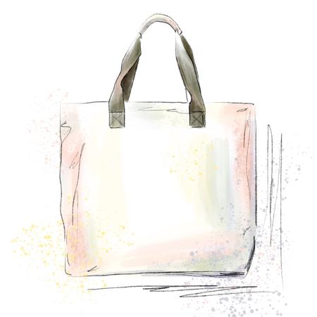 Hand drawn graphic bag. Fashion illustration accessories sketch. vogue fashion elements