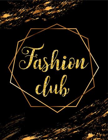 Fashion party vector poster with gold headline Archivio Fotografico