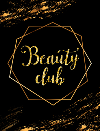 Beauty club vector poster with gold headline
