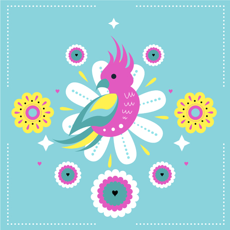 Bright Vector seamless print with cute parrot and exotic tropical flowers. Print for fabric, baby clothes, background, textile, wrapping paper, banner, art board, wall print and other decoration. Vector illustration.