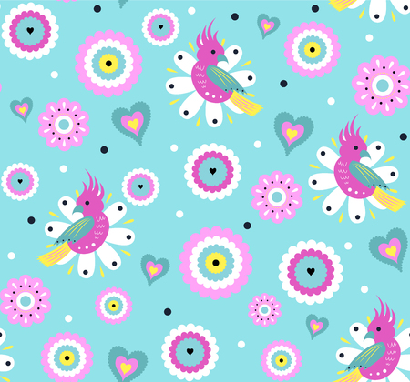 Bright Vector seamless pattern with cute parrot and exotic tropical flowers. Pattern for fabric, baby clothes, background, textile, wrapping paper and other decoration. Vector illustration. Vettoriali