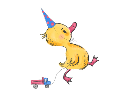 Cute little duck with present machine, character, greeting card, banner, poster, illustration