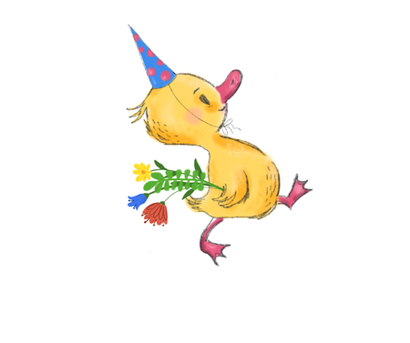 cute little duck with present bouquet, character, greeting card, banner, poster, illustration