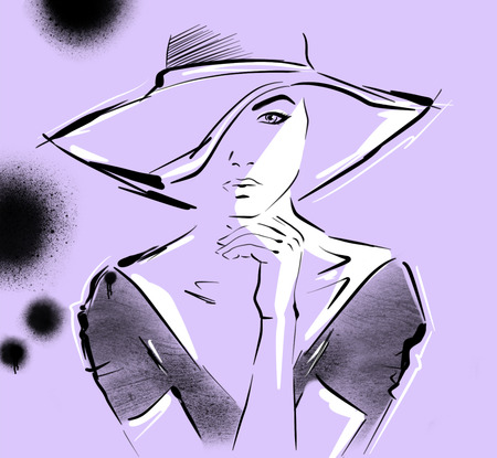 Hand drawn beautiful young woman in dress and big hat. Stylish girl, Fashion woman look. Sketch. Ultraviolet