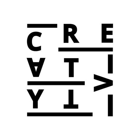 Vector creative illustration of creativity font composition. Creative idea concept. Line art style design for banner, print, advertising