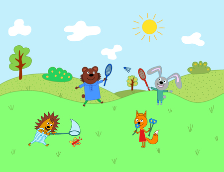 Cartoon cute animals for baby card and invitation. Bear, hare, chanterelle, hedgehog, fox Vettoriali