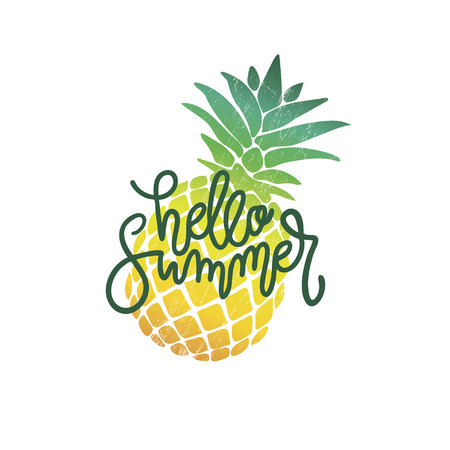 Vector calligraphy illustration Hello summer with pineapple icon. Drawn art sign. Lettering typography poster, print. Funny greetings for clothes, card, badge, icon, postcard, banner, tag, stickers.