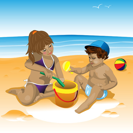 little girl bath: Childrens illustration on the beach with toys