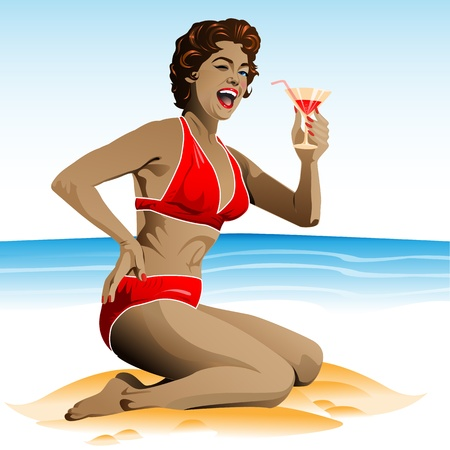 Summer pin-up with cocktail Vector