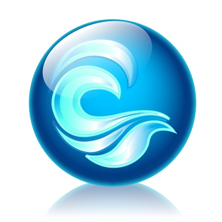 Waves glossy icon photo