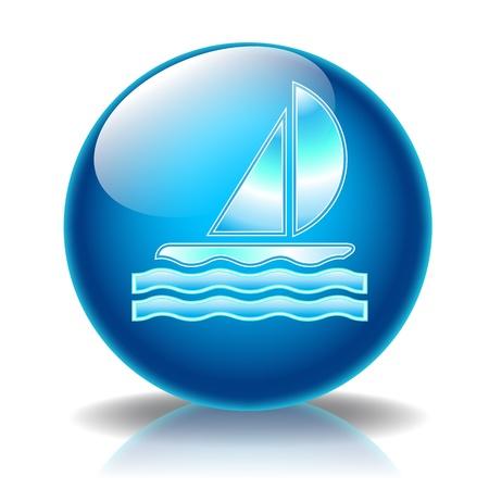 Sailboat glossy icon