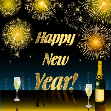 happy moment: Happy New Year Stock Photo