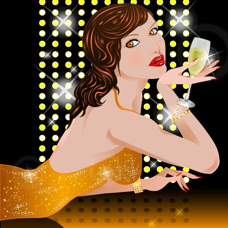 Woman with champagne photo