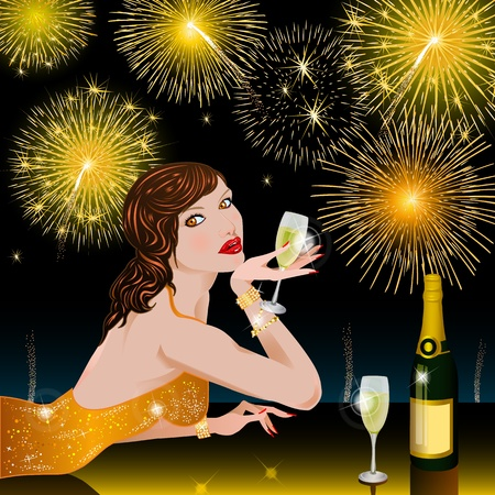 Happy New Year with woman Stock Photo - 10229343