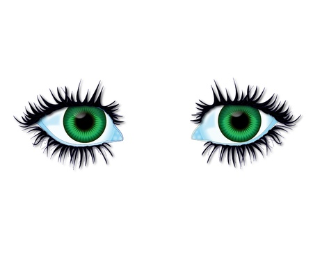 inset: Illustration green eyes of body parts  Stock Photo