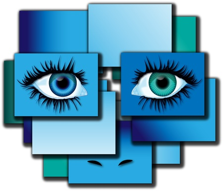composing: Eyes illustration with abstract composition