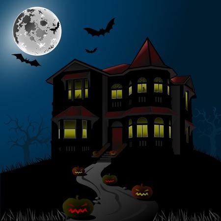 maison de maitre: Halloween Haunted House Illustration