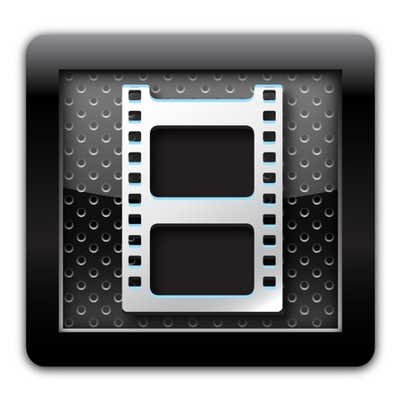 directions icon: Video metal icon Stock Photo