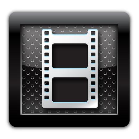 video icon: Video metal icon Stock Photo