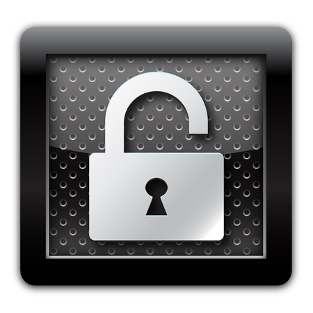 Security unlock metallic icon