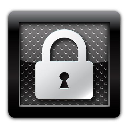 Security lock metallic icon Stock Photo - 11175070