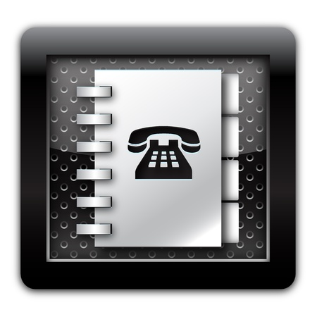 Adress book telephone numbers metallic icon  Stock Photo