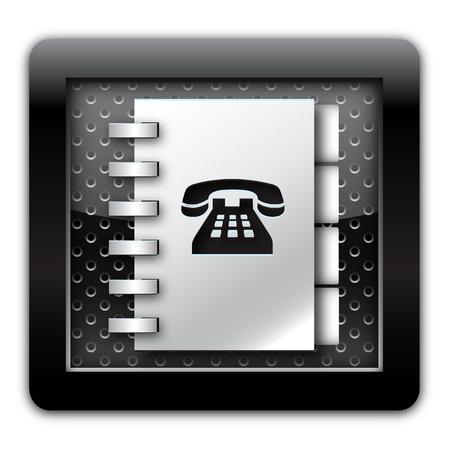 adress book: Adress book telephone numbers metallic icon  Stock Photo