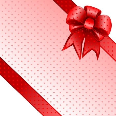 Red gift bow card note  Vector