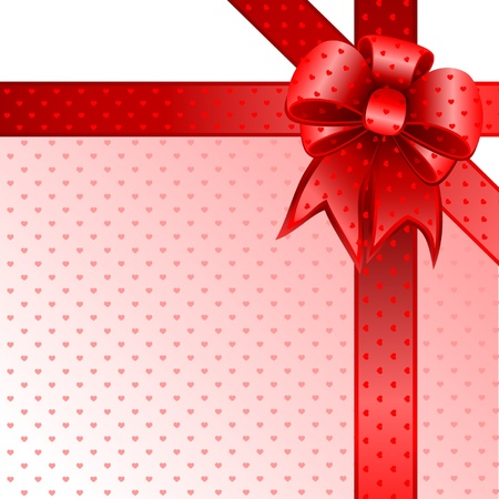 Red gift bow card note Фото со стока - 12038738