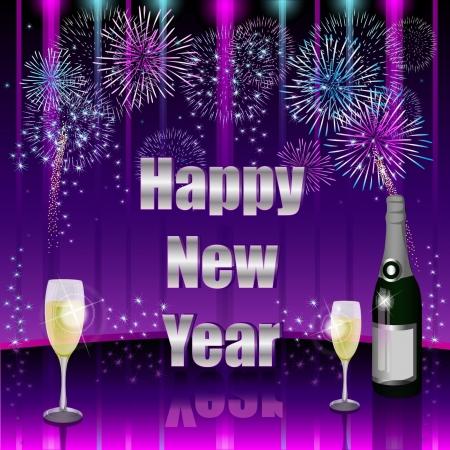 fireworks 'hope fireworks: Happy New Year Illustration