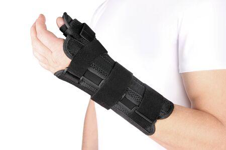 Elastic Wrist Bandage. Orthopedic medical Fitness Hand Bandage. Elastic Wrist Injury Support. Sport Protective Wristband. Wrist Positioning Orthosis. Wrist pain. Stock Photo