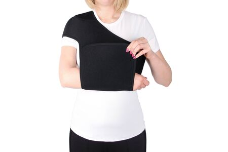 Shoulder Joint Brace. Bandage on the shoulder joint (scarf) with additional fixation. Deso's Handwrap. Supports & Immobilizers. Orthopedic medical braces. Shoulder injury.