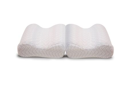 Orthopedic foot pillow, Orthopedic foot pillow with Memory Effect. Comfort Memory Pillow under the head with a recess under the shoulder isolated on white background. Sleeping support pillow