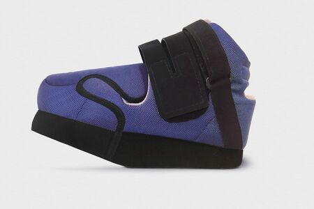Forefoot Off-loading Shoe after fractures. Detachable therapeutic shoes. Post operative heel shoe on white background. Medical Orthopedic shoes designed specifically for ankle. Trauma and Swelling feet