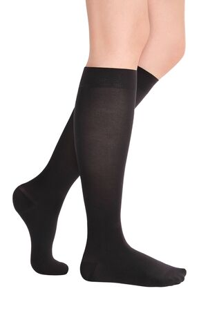Medical Compression Stockings for varicose veins and venouse therapy. Compression Hosiery. Sock for sports isolated on white background