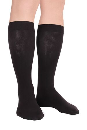 Compression Hosiery. Medical stockings, tights, socks, calves and sleeves for varicose veins and venouse therapy. Clinical knits. Sock for sports isolated on white background Zdjęcie Seryjne