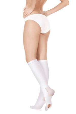 Anti-embolic Compression Hosiery. Medical stockings, tights, socks, calves and sleeves for varicose veins and venouse therapy. Clinical knits. Sock for sports isolated on white background