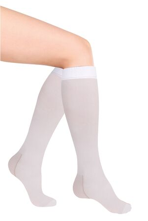 Anti-embolic Medical Compression Stockings for varicose veins and venouse therapy. Compression Hosiery. Sock for sports isolated on white background
