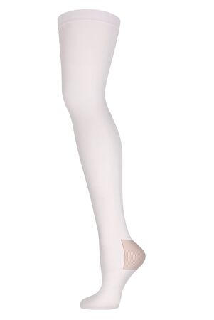 Closed toe stockings. Compression Hosiery. Medical stockings, tights, socks, calves and sleeves for varicose veins and venouse therapy. Clinical knits. Sock for sports isolated on white background
