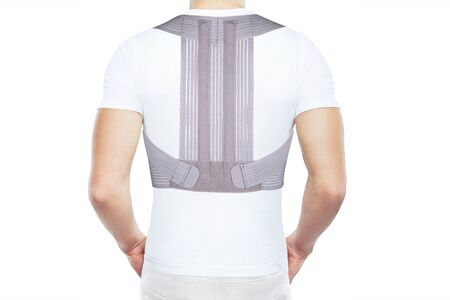 Orthopedic lumbar support products. Lumbar Support Belts. Posture Corrector For Back Clavicle Spine. Lumbar Waist Support Belt Strong Lower Back Brace Support. Foto de archivo