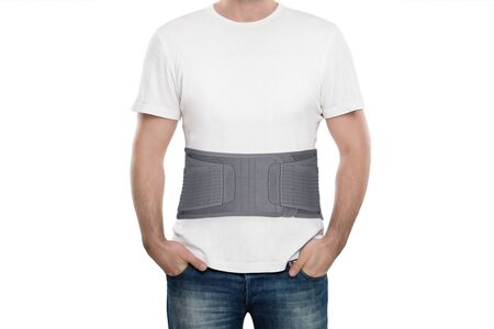 Orthopedic lumbar support products. Lumbar Support Belts. Posture Corrector For Back Clavicle Spine. Lumbar Waist Support Belt Strong Lower Back Brace Support. Stock Photo