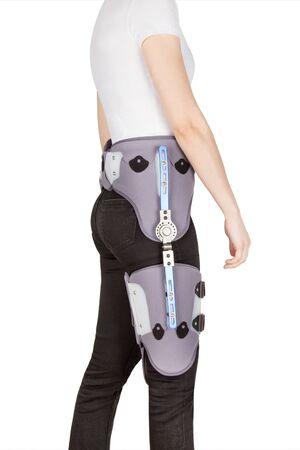 Hip Abduction Orthosis. Orthopedic adjustable support brace for knee and hip fixation. A Knee Brace or Leg Brace after hip fracture or a replacement revision surgery. Rehabilitation for knee injury