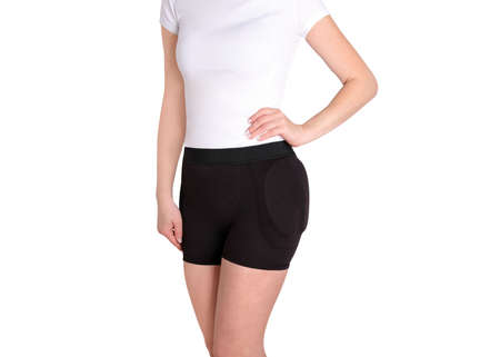 Hip Brace with two cushion pads. Bandage protector on the hip joint. Medical Compression underwear for hip pain relief. Orthopedic underpants after surgery. Protection of the thigh bones.
