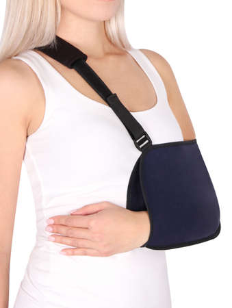 Shoulder Joint Brace. Bandage on the shoulder joint (scarf) with additional fixation. Deso Handwrap. Supports and Immobilizers. Orthopedic medical Braces. Shoulder injury.