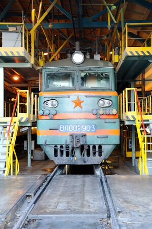 the locomotive is in the depot under repair