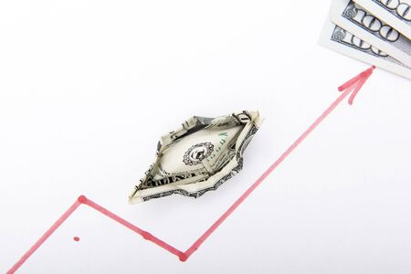 Dollar. A boat folded from one dollar holds the way on schedule. The dollar graph indicates a red line drawn with a red marker