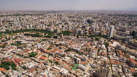Aerial view of southern part of Nicosia city 版權商用圖片