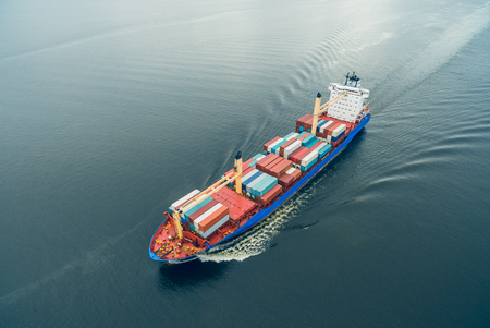 Aerial view of container vessel sailing in open sea Banco de Imagens - 82311432