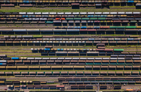 freight train: Aerial view of colorful freight wagons on the railway station