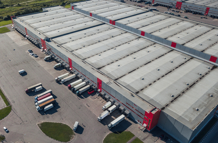 Aerial view of logistic center